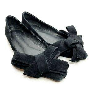 Jeffery Campbell Ruston Flats Bow Black Suede Slip
